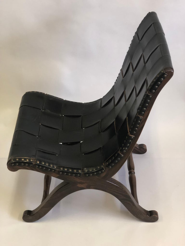 Modern Neoclassical Black Leather Strap Chair Attributed to Pierre Lottier, Pair For Sale 7