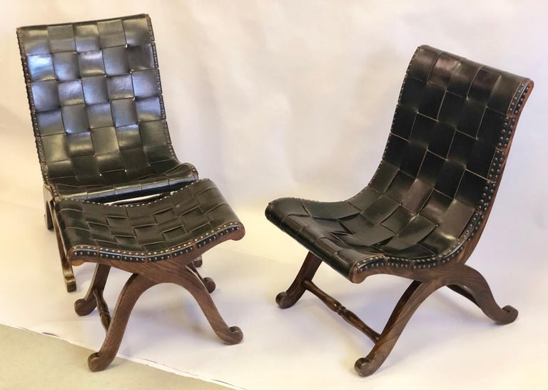 Modern Neoclassical Black Leather Strap Chair Attributed to Pierre Lottier, Pair For Sale 11