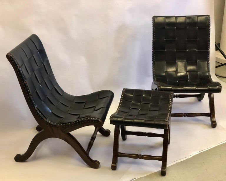 Modern Neoclassical Black Leather Strap Chair Attributed to Pierre Lottier, Pair For Sale 12