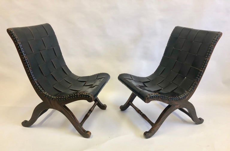 Mid-Century Modern Modern Neoclassical Black Leather Strap Chair Attributed to Pierre Lottier, Pair For Sale