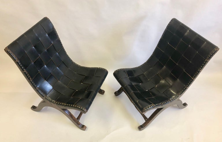 French Modern Neoclassical Black Leather Strap Chair Attributed to Pierre Lottier, Pair For Sale