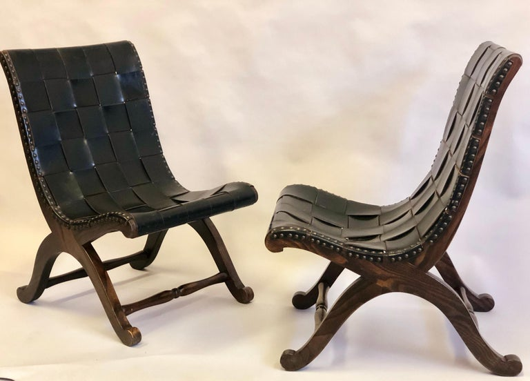 Modern Neoclassical Black Leather Strap Chair Attributed to Pierre Lottier, Pair In Good Condition For Sale In New York, NY