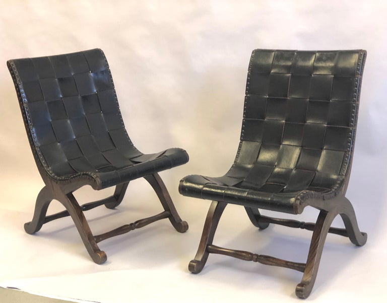 20th Century Modern Neoclassical Black Leather Strap Chair Attributed to Pierre Lottier, Pair For Sale