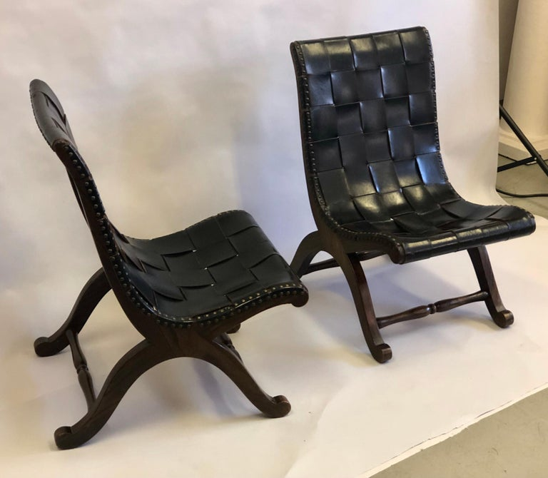 Modern Neoclassical Black Leather Strap Chair Attributed to Pierre Lottier, Pair For Sale 1