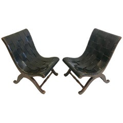 Modern Neoclassical Black Leather Strap Chair Attributed to Pierre Lottier, Pair