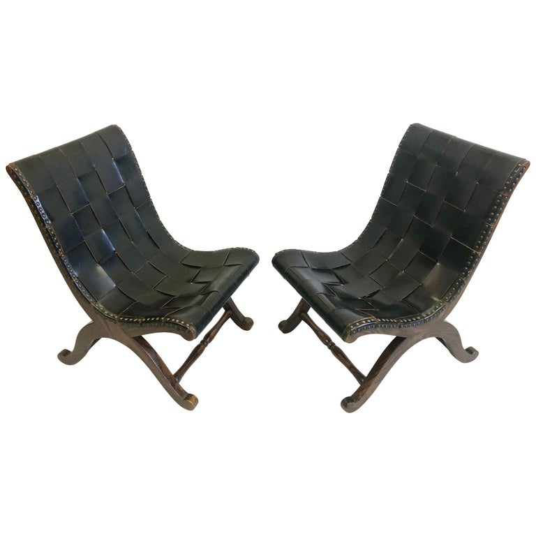 Modern Neoclassical Black Leather Strap Chair Attributed to Pierre Lottier, Pair For Sale