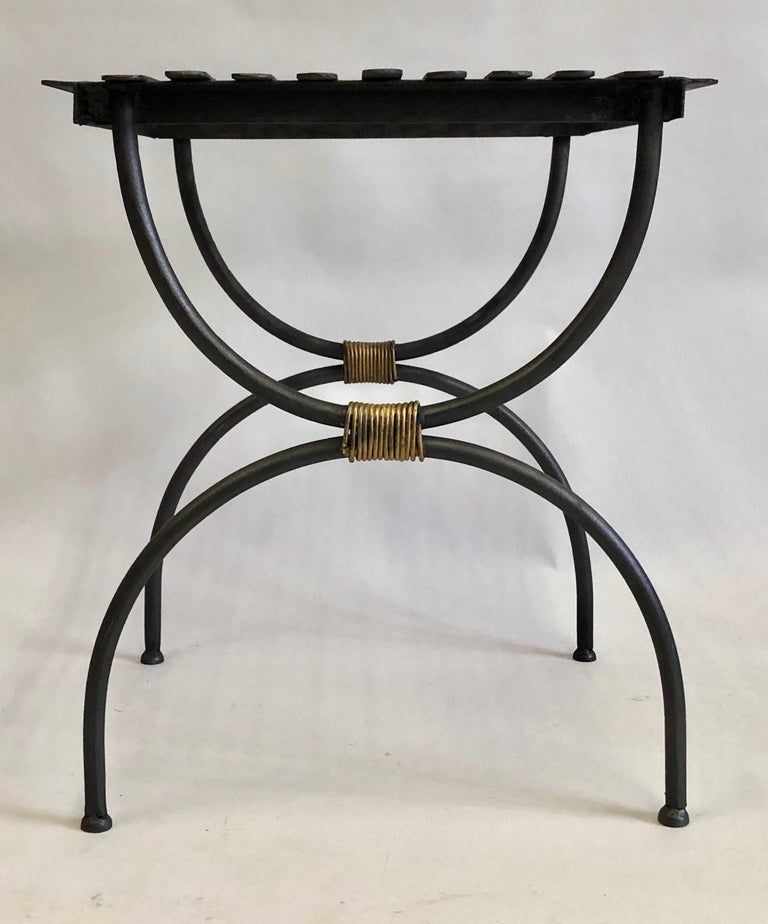 Wrought Iron French Modern Neoclassical Iron Benches / Luggage Racks, Jean Michel Frank, Pair For Sale
