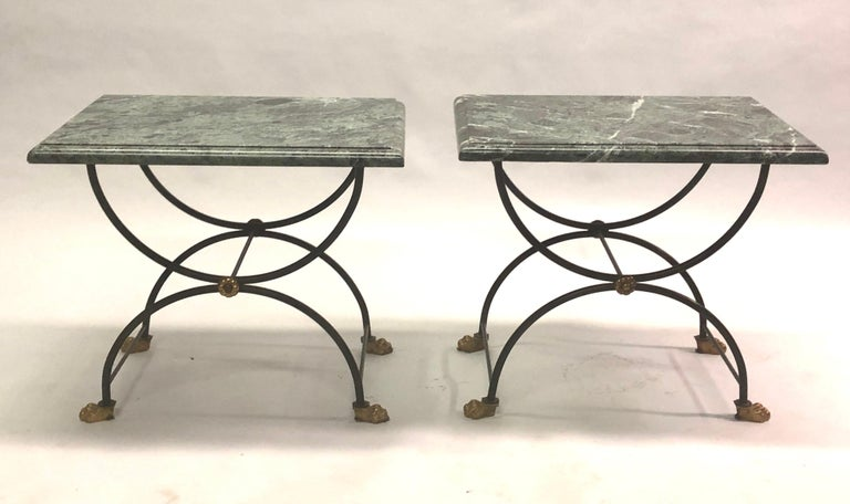 Pair of French Mid-Century Modern neoclassical end or side tables attributed to Jean-Charles Moreux for Maison Jansen. 