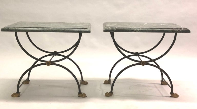 Mid-Century Modern Pair of Modern Neoclassical Iron and Gilt Bronze End / Side Tables, J C Moreux For Sale