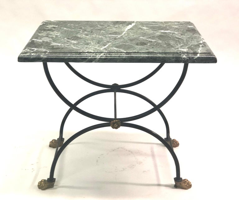 French Pair of Modern Neoclassical Iron and Gilt Bronze End / Side Tables, J C Moreux For Sale