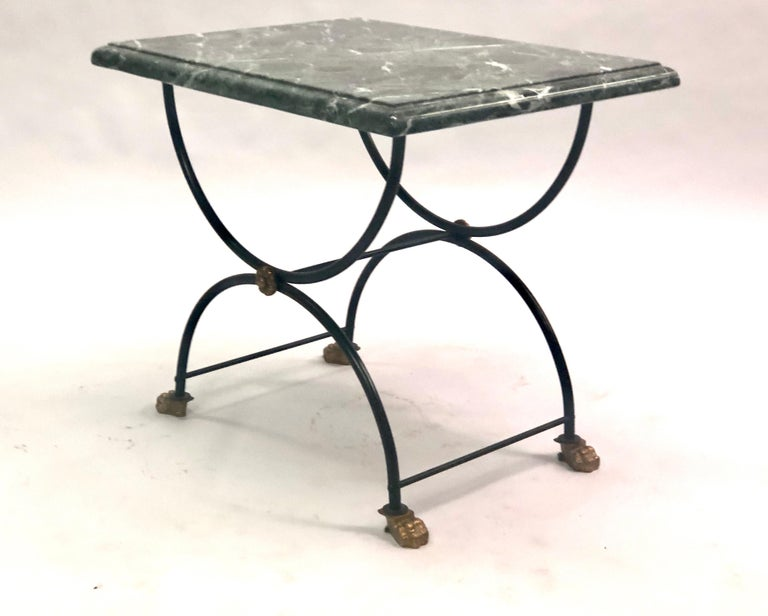 Pair of Modern Neoclassical Iron and Gilt Bronze End / Side Tables, J C Moreux In Good Condition For Sale In New York, NY