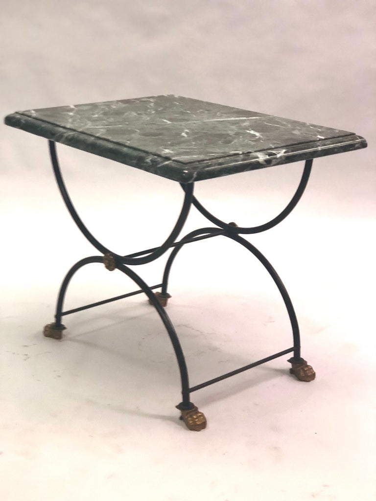20th Century Pair of Modern Neoclassical Iron and Gilt Bronze End / Side Tables, J C Moreux For Sale