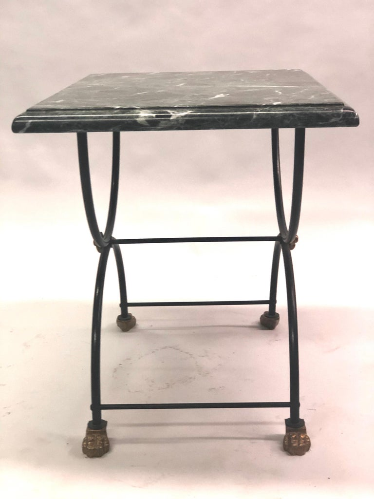 Wrought Iron Pair of Modern Neoclassical Iron and Gilt Bronze End / Side Tables, J C Moreux For Sale