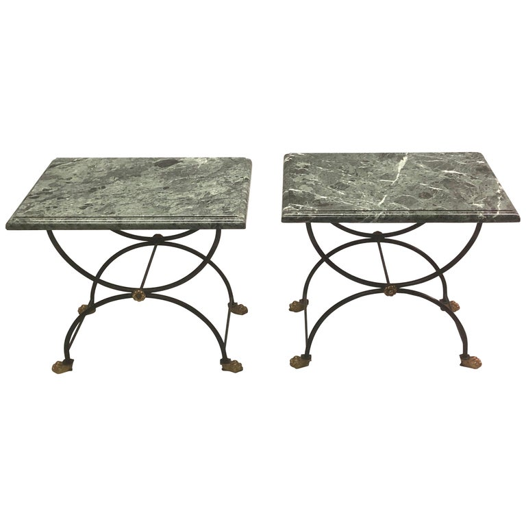 Pair of Modern Neoclassical Iron and Gilt Bronze End / Side Tables, J C Moreux For Sale