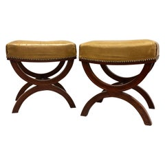 French Modern Neoclassical Mahogany & Leather Benches/ Stools, Andre Arbus, Pair