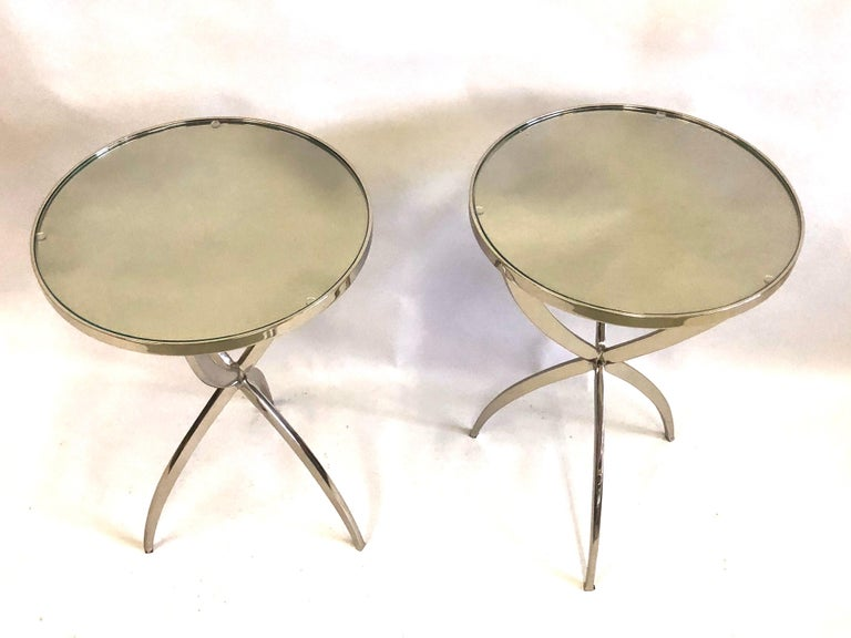 Mid-Century Modern French Modern Neoclassical Round Nickel Side / End Tables, Jacques Quinet, Pair For Sale