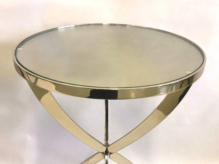 French Modern Neoclassical Round Nickel Side / End Tables, Jacques Quinet, Pair In Distressed Condition For Sale In New York, NY