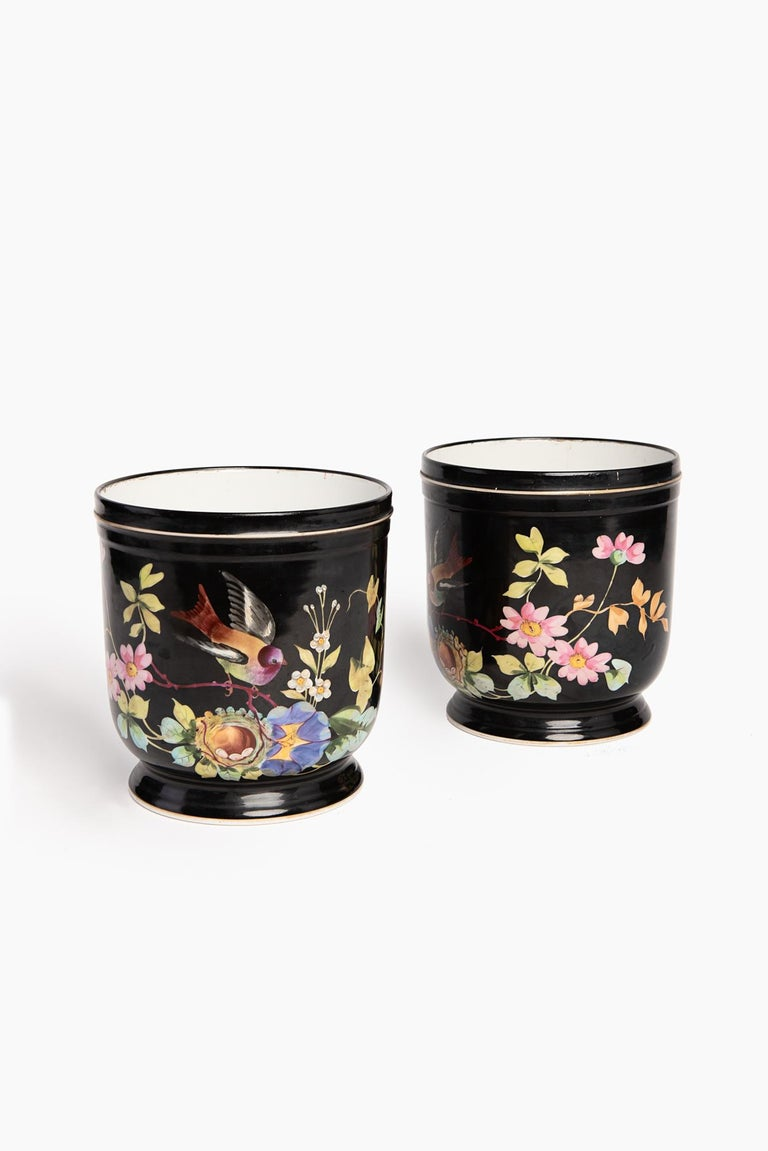 19th century pair of French Napoleon III handmade decorated cachepots, 1880.