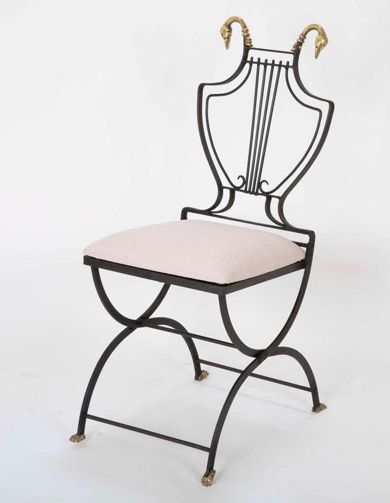 Pair French Neoclical Wrought Iron Garden Chairs