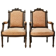 French Open Armchairs 19th Century Louis XVI Fauteuil Includes Recovering, Pair