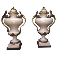 French Pair Ormolu Mounted Marble Urns, Signed E. KAHN