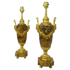 Pair French Regency Giallo Sienna Marble Gilt Bronze Ormolu Electric Table Lamps