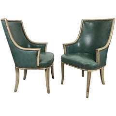 Pair of Regency Leather Arm / Lounge Chairs, Attributed to Baker Furniture Co