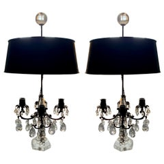 Pair of French Rock Crystal Girandole Lamps