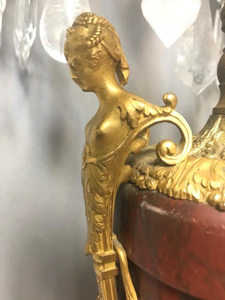 Pair of French Rouge Marble & Rock Crystal Ormolu Lamps, 19th Century For Sale 5