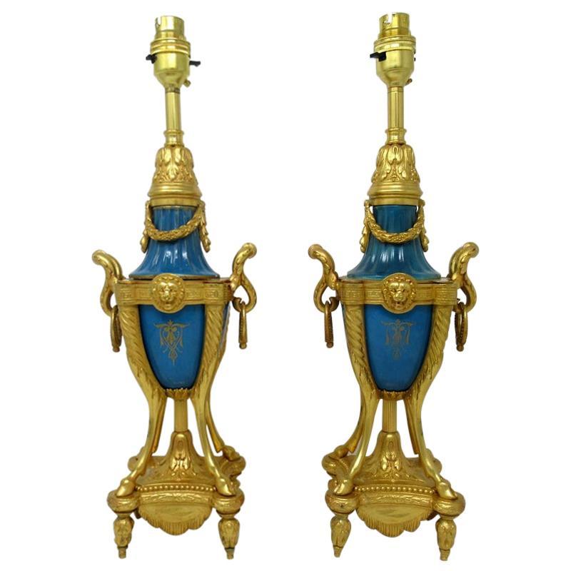 Pair of French Sèvres Porcelain Portrait Celeste Blue Ormolu Gilt Table Lamps
