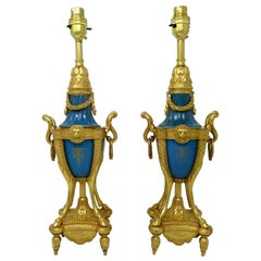Pair of French Sèvres Porcelain Portrait Celeste Blue Ormolu Gilt Table Lamps
