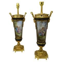 Sèvres Porcelain Watteau Scene Ormolu Cobalt Blue Table Lamps 19th Century, Pair