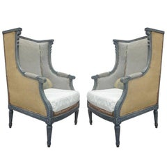Pair French Shabby Chic, Louis XVI Wingback Lounge Chairs Attr. Maison Jansen