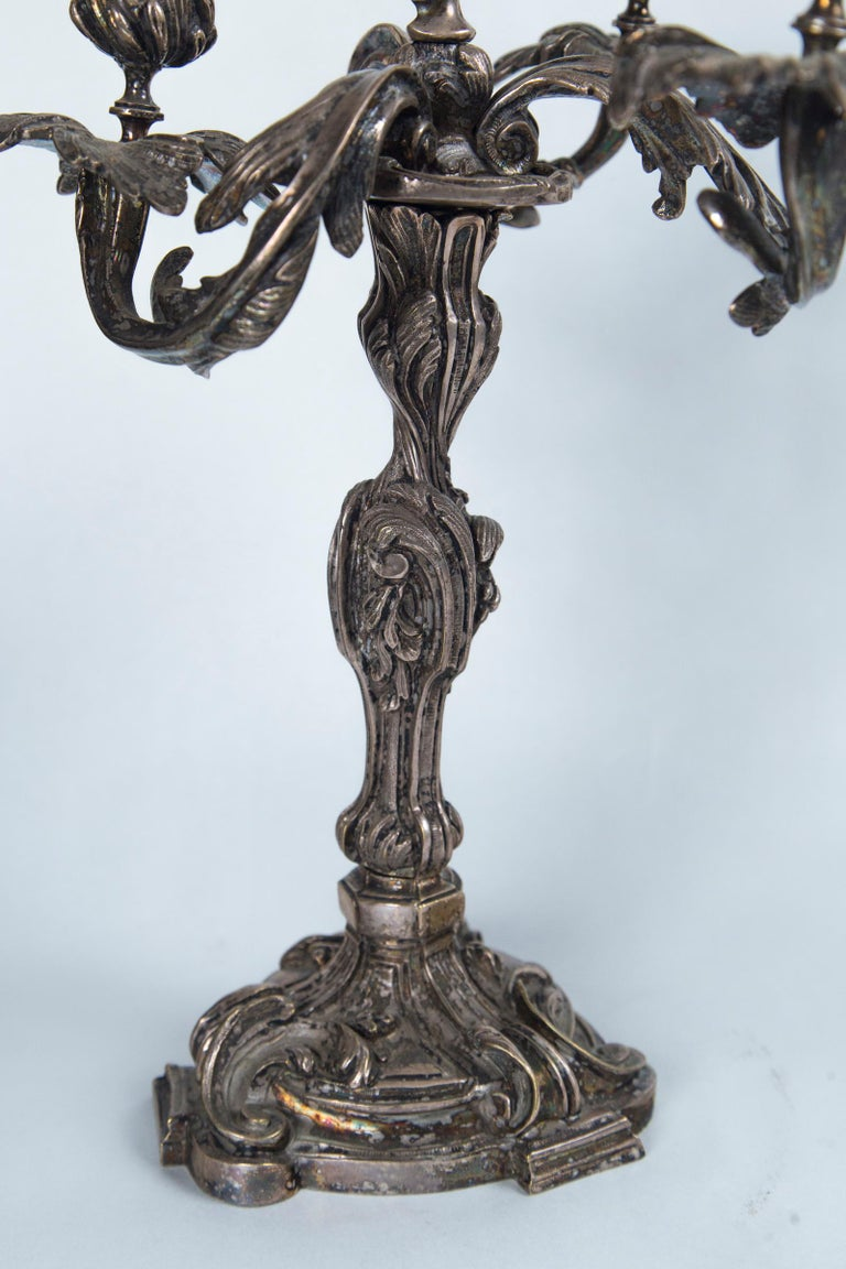 Pair of French Silver on Bronze 4-Light Candelabra For Sale 2