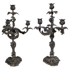 Pair of French Silver on Bronze 4-Light Candelabra