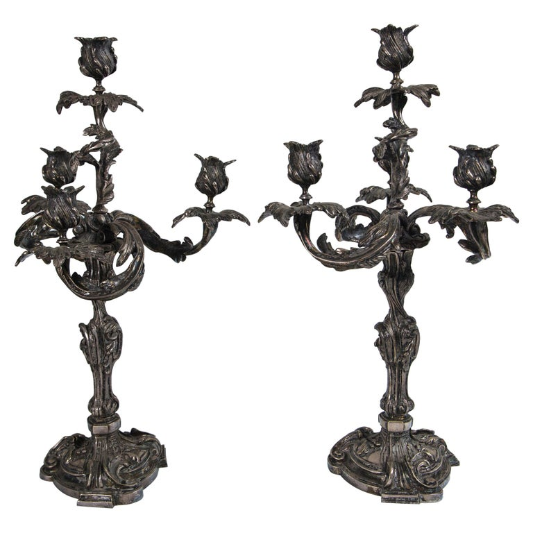 Pair of French Silver on Bronze 4-Light Candelabra For Sale