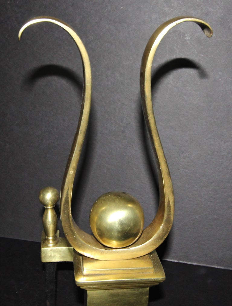 Pair French Solid Brass Lyre Shape Andirons For Sale 7