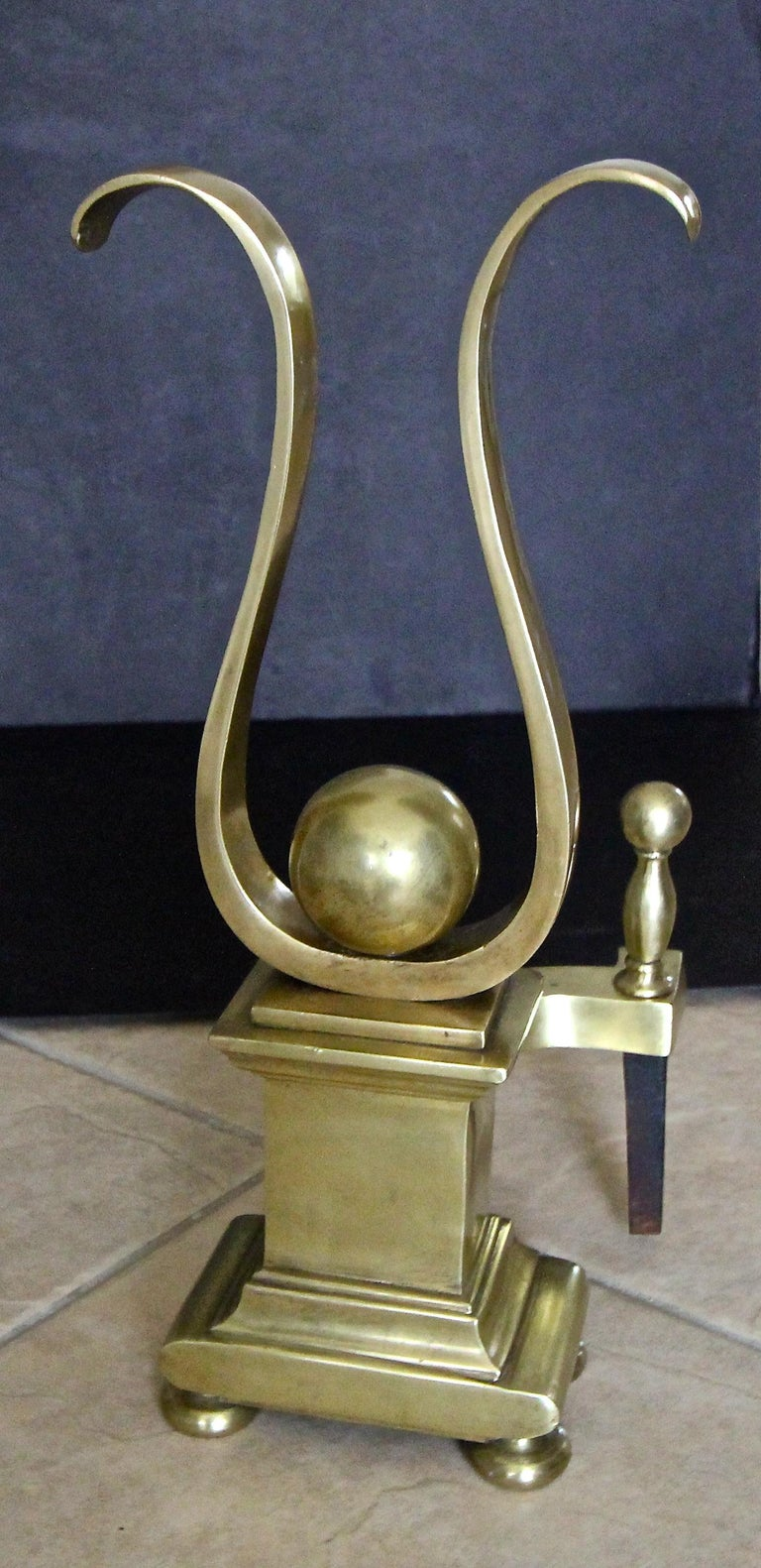 Pair French Solid Brass Lyre Shape Andirons For Sale 8