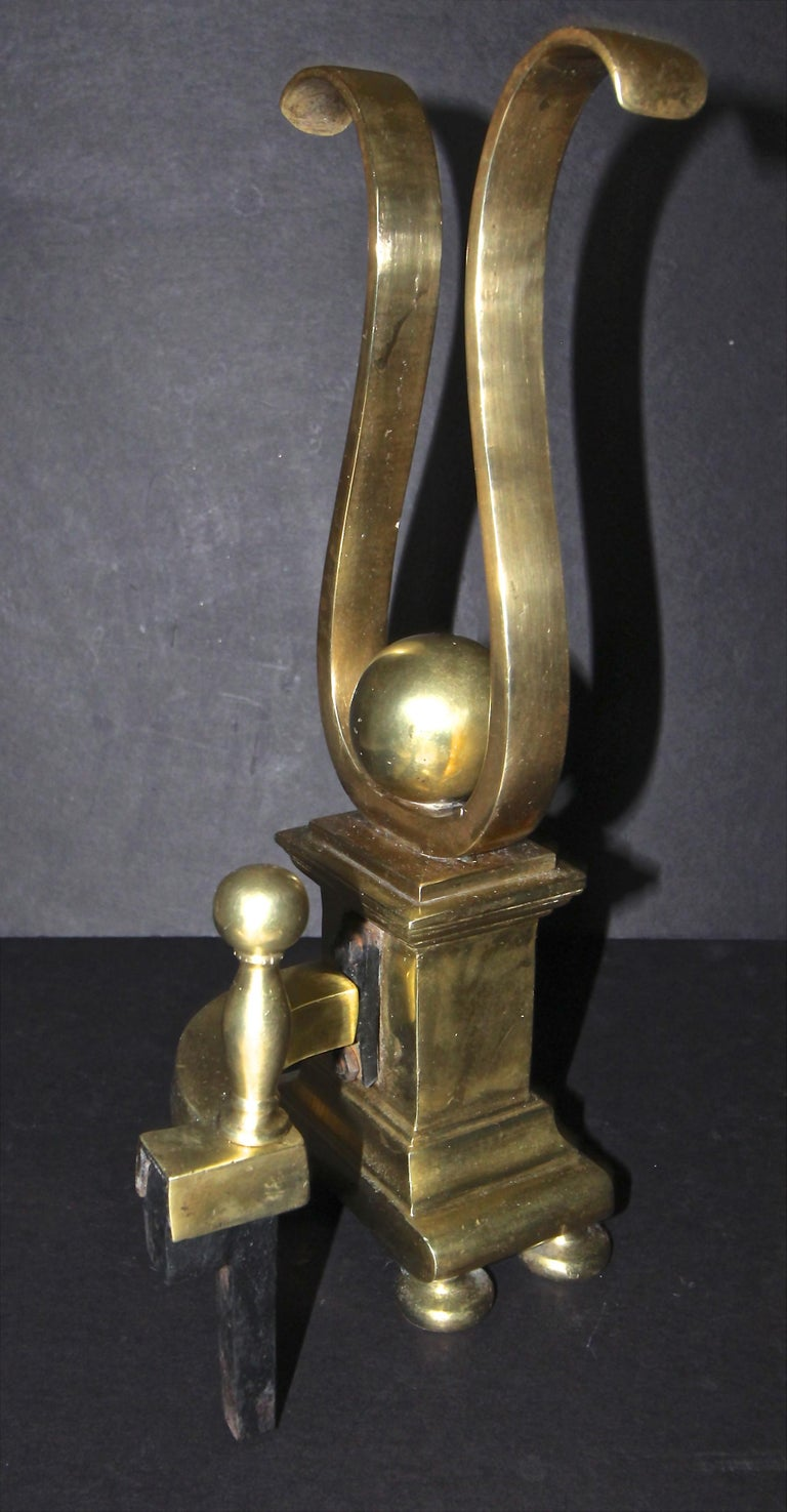 Pair French Solid Brass Lyre Shape Andirons For Sale 9