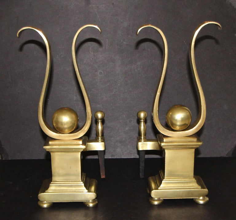 20th Century Pair French Solid Brass Lyre Shape Andirons For Sale