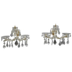 Pair of French Style Brass & Crystal Candle Wall Sconces, circa 1940