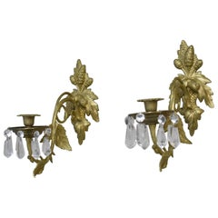 Pair of French Style Bronze Gold Doré Wall Candleholders Handcut Crystals G E