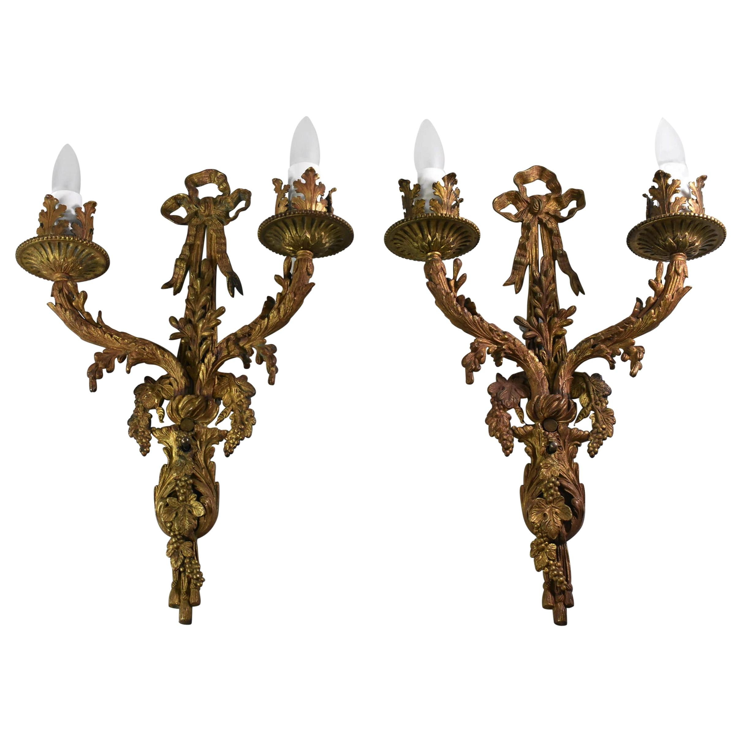 Pair of French Style Bronze Wall Sconces Grape Cluster Details