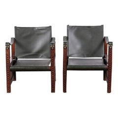 Pair of French Vintage Moorish Style Carved Frame Leather Armchairs