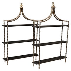 Pair French Wall Mounted Faux Bamboo Brass Etageres