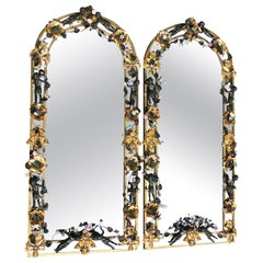 French Whimsical 19th-20th Century Belle Époque Bronze & Porcelain Mirrors, Pair