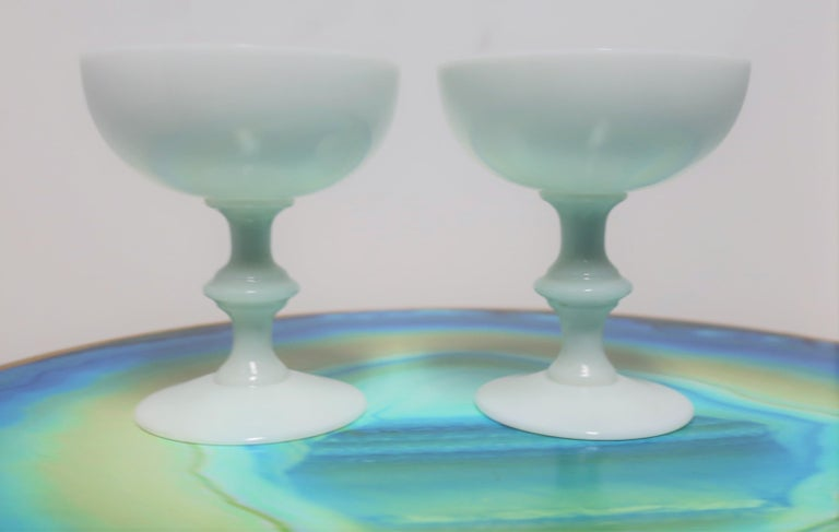 Mid-20th Century Pair of French White Opaline Champagne Glasses by Portieux Vallerysthal For Sale