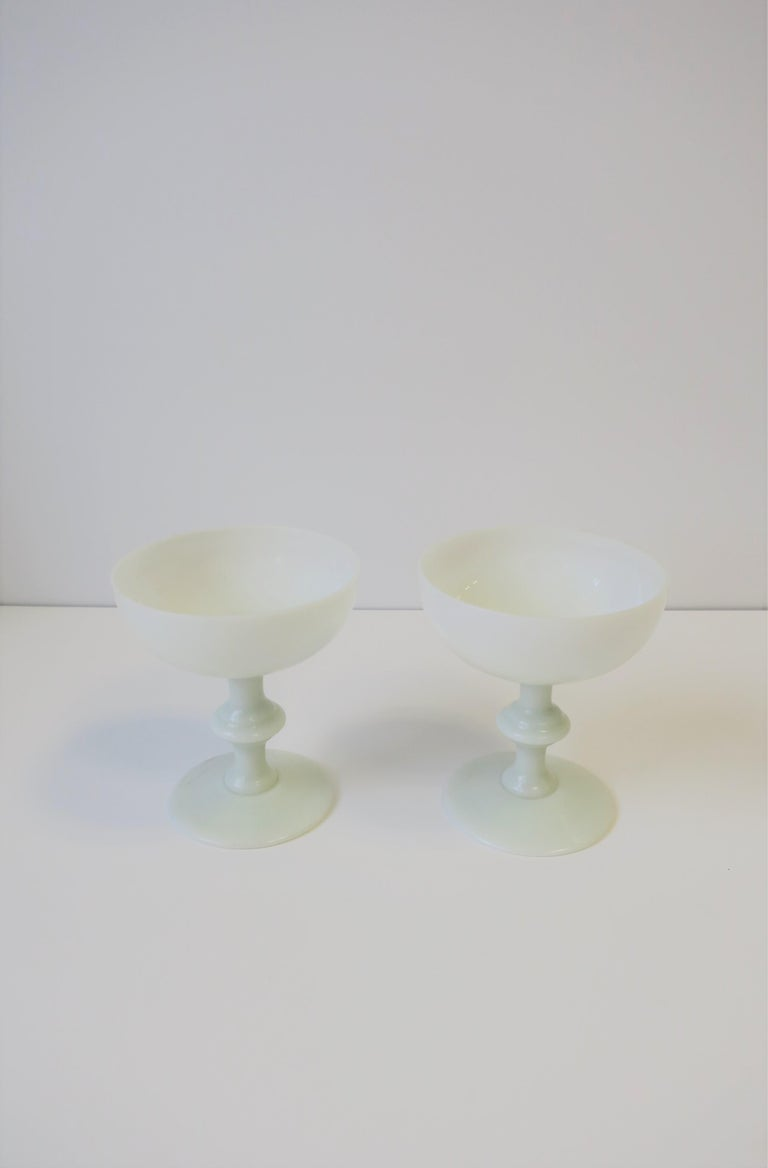 Pair of French White Opaline Champagne Glasses by Portieux Vallerysthal For Sale 1