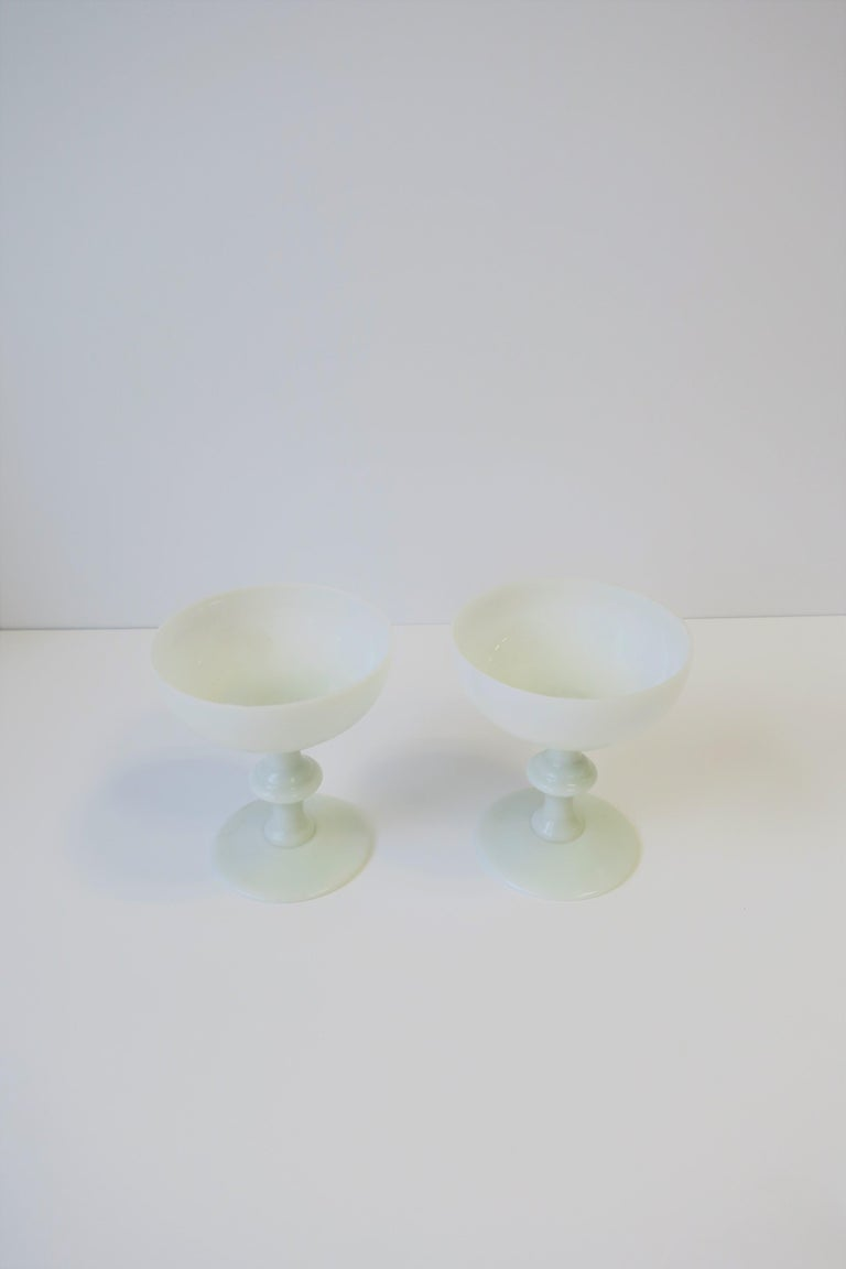 Pair of French White Opaline Champagne Glasses by Portieux Vallerysthal For Sale 3