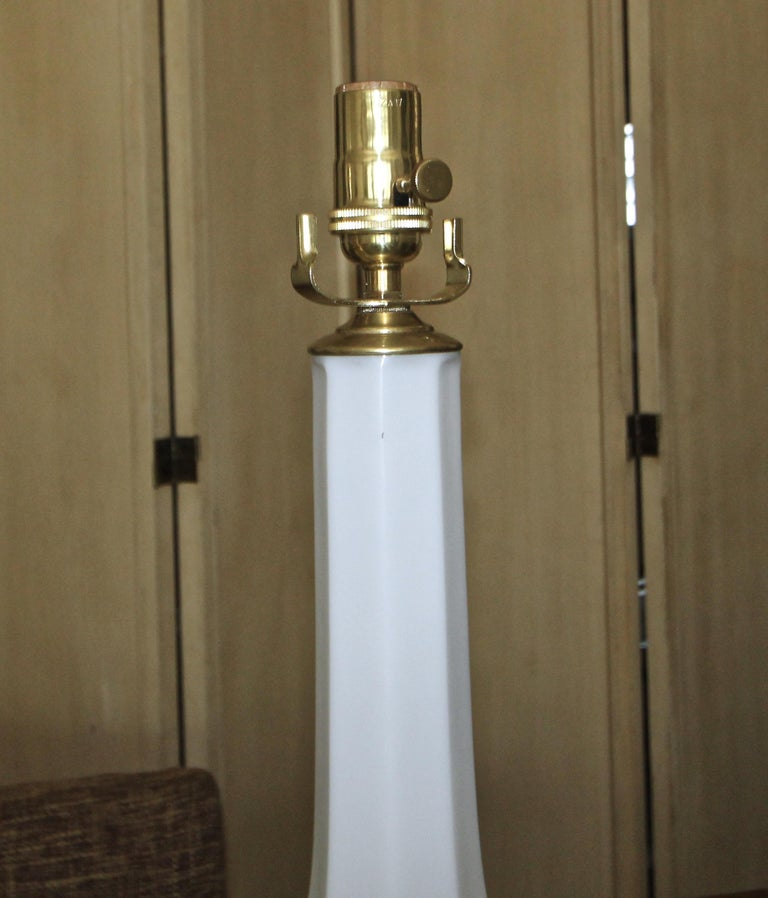 Pair of French White Opaline Table Lamps For Sale 6